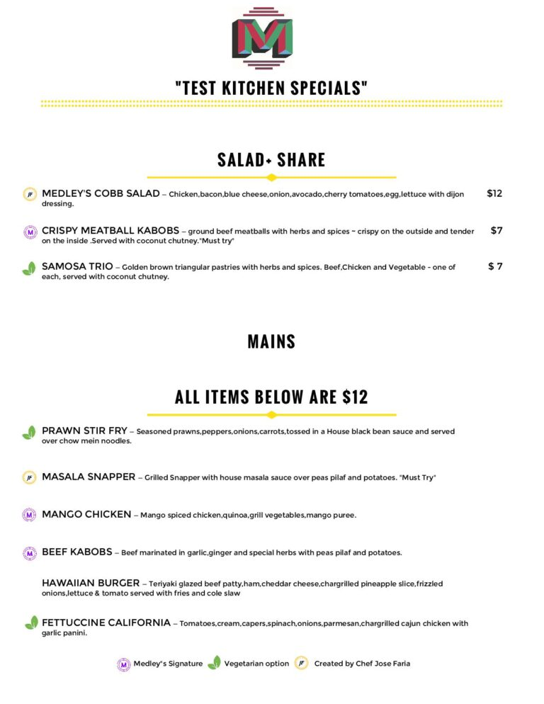 best Food North Vancouver-Lunch Menu's Image- Medley's